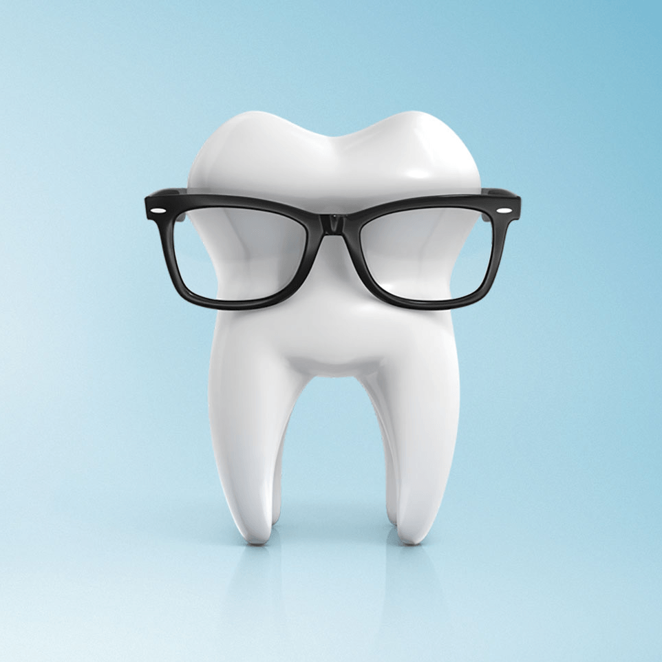Tooth with glasses