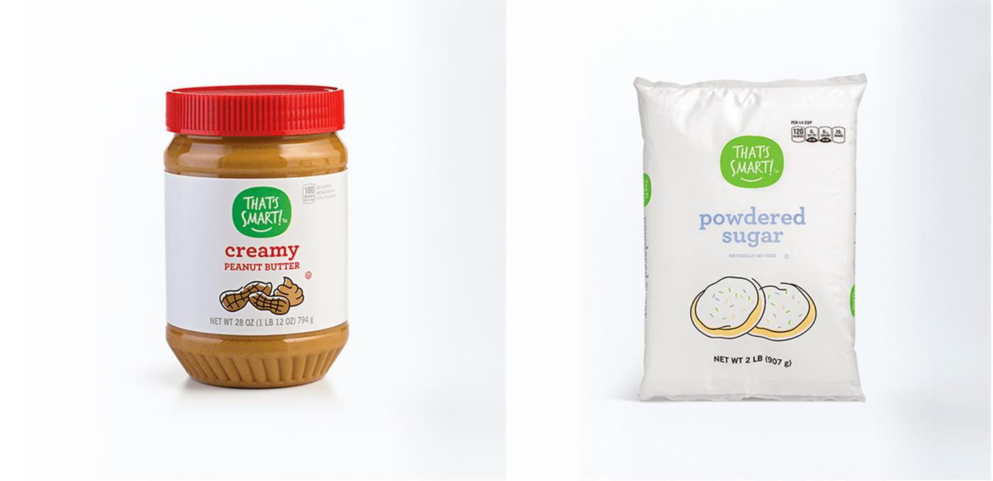 That's Smart Peanut Butter and Powdered Sugar Food Package Design