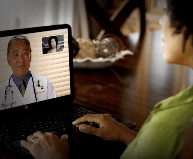 Person Getting Virtual Healthcare on Computer